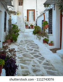 Picturesque Street in Plaka, Athens, Greece