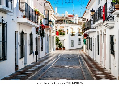 Picturesque street of Rancho Domingo. Charming white village in Benalmadena. Andalusia, southern Spain