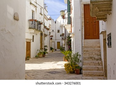 Picturesque street in the town of Locorotondo in Southern Italy.