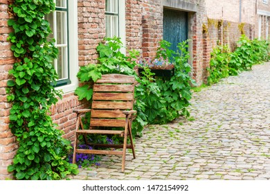 picturesque street view in the historic small town of Veere, Netherlands
