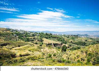 Picturesque summer landscape of Alfacar countryside in Granada,Spain.