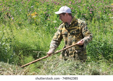 a picturesque summer landscape with incredibly bright meadow flowers and luscious green grass. bright positive juicy summer on farmlands. farmer harvests hay for winter livestock feeding