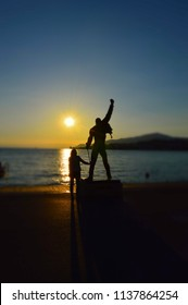 Picturesque sunset near Freddie Mercury Statue. Montreux, Switzerland