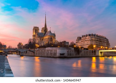 Picturesque sunset over Cathedral of Notre Dame de Paris, destroyed in a fire in 2019, Paris, France