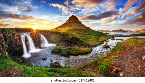 The picturesque sunset over landscapes and waterfalls. Kirkjufell mountain,Iceland