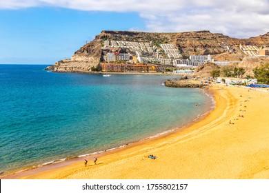 Picturesque Tauro beach (Spanish: Playa de Tauro) near the Puerto Rico de Gran Canaria holiday resort on Gran Canaria island, Spain