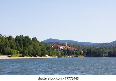 Picturesque touristic village Fuzine, Croatia, by the lake