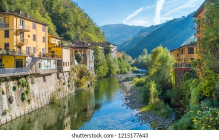 The picturesque town of Bagni di Lucca on a sunny day. Near Lucca, in Tuscany, Italy.