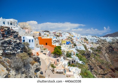 a picturesque town on the hillside of Santorini