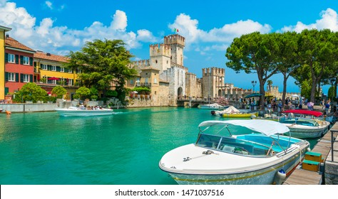 The picturesque town of Sirmione on Lake Garda. Province of Brescia, Lombardia, Italy.