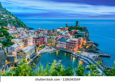 Picturesque town of Vernazza, in the province of La Spezia, Liguria, Italy after sunset