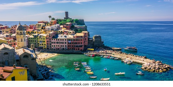 Picturesque town of Vernazza, in the province of La Spezia, Liguria, Italy