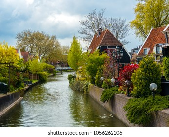 Picturesque typical Dutch country houses on a canal with beautiful gardens in Edam in the suburbs of Amsterdam, Holland (Holland)