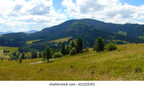 Picturesque valley, mountain range and peak in summer. Ridge Smerek