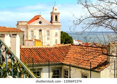 Picturesque view in Alfama old town in Lisbon, Portugal