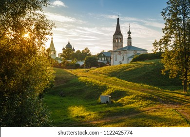 A picturesque view the ancient Russian town of Suzdal with its historical architecture.