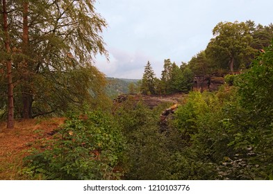 Picturesque view of Belvedere Viewpoint (Labska stran). It is the oldest viewpoint in Bohemian Switzerland National Park. Touristic place and travel destination in Europe. Czech republic.