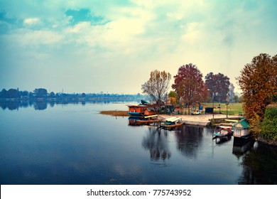 A picturesque view of boarding point for Shikara boats at Nageen Lake in Srinagar, Jammu and Kashmir, India