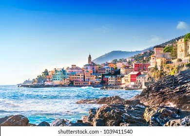 Picturesque view of Bogliasco, small sea village near Genoa (northern Italy), Ligurian Riviera