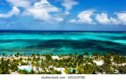 Picturesque view of the Caribbean Sea and Nassau, Bahamas