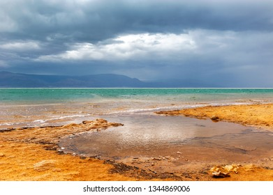 Picturesque view at the Dead Sea beach, Israel
