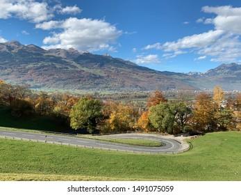 Picturesque view from the hill in Vaduz, Lichtenstein