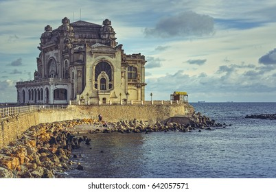 Picturesque view with the historic building of the Constanta Casino, the most representative symbol of the city on the coast of the Black Sea, Romania.