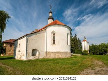 Picturesque view of Holy Trinity church in Starokostiantyniv castle, Khmelnytskyi region, Ukraine. Popular tourist attraction - Shutterstock ID 2031324128