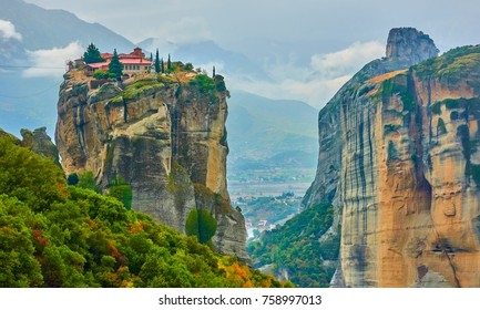 Picturesque view of The Holy Trinity monastery on the top of the rock in Meteora, Greece