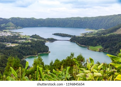 """Picturesque view of the Lake of Sete Cidades (""""Seven Cities Lake""""), a volcanic crater lake on Sao Miguel island, Azores (Açores), Portugal"""