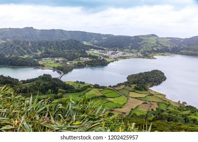 "Picturesque view of the Lake of Sete Cidades (""Seven Cities Lake""), a volcanic crater lake on Sao Miguel island, Azores (Açores), Portugal. View from Miradouro do Cerrado das Freiras"