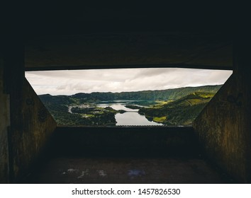 Picturesque view of the Lake of Sete Cidades Seven Cities Lake , a volcanic crater lake on Sao Miguel island, Azores, Portugal. View from Vista do Rei viewpoint