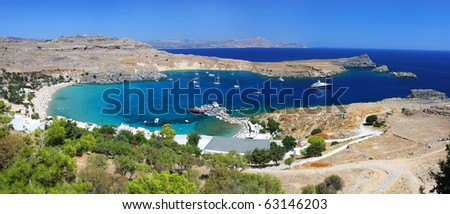 Picturesque view of Lindos bay and beach