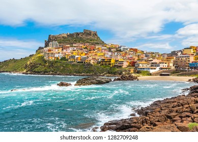 Picturesque view of Medieval town of Castelsardo, province of Sassari, Sardinia, Italy. Popular travel destination. Mediterranean seacoast