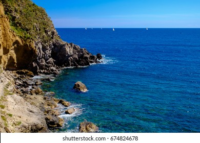 Picturesque view near Thermal Spring of Sorgeto Bay, Ischia Island, Italy.