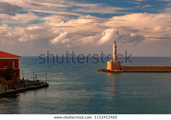 Picturesque view of old harbour of Chania with Lighthouse, Crete, Greece
