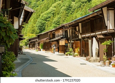 Picturesque view of old Japanese town with traditional wooden houses. Narai-juku post town in Kiso Valley, Nagano, Japan