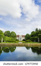 picturesque view on abbots palace in Oliwa park in Gdansk