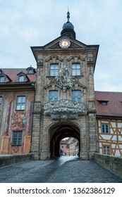 Picturesque view on old Town Hall (Altes Rathaus) on island in Bamberg city with two bridges over the Regnitz River, Bavaria. Bamberg is a UNESCO world heritage site. Bamberg, Germany.