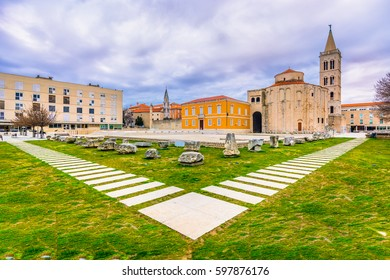 Picturesque view on Roman Forum in town Zadar, famous sightseeing place in Dalmatia region, Croatia. / Selective focus.
