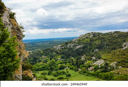 The picturesque view on the valley from  Les Baux-de-Provence village, France.