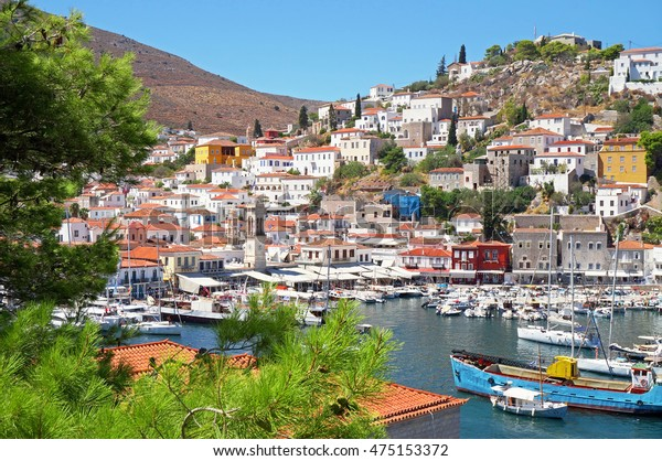 Picturesque View at the Port Town of Hydra Island in Greece