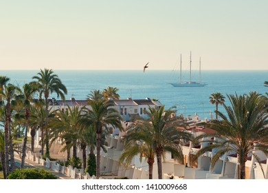 Picturesque view residential coastal summer villa rooftops, palm trees in a row and tranquil blue sea flying seagull bird and moored yacht in the Mediterranean waters. Torrevieja city, Alicante, Spain