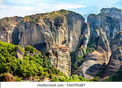Picturesque view of rock formation Meteora in central Greece. One of  of Eastern Orthodox monasteries on the clif.