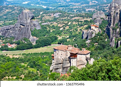 Picturesque view of rock formation Meteora and Thessaly valley in central Greece. Europe.