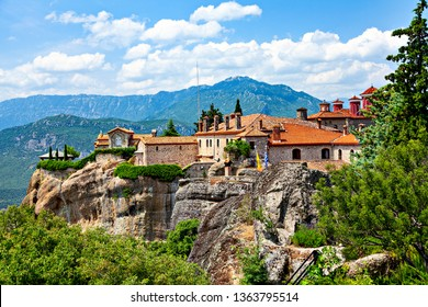 Picturesque view of rock formation Meteora with the monastery on top. Greece.