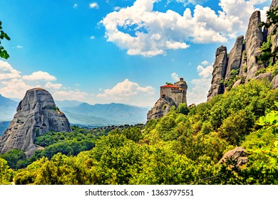 Picturesque view of rock formation Meteora in central Greece. The Monastery of St. Nicholas Anapausas.