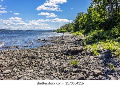 Picturesque view of Saint Lawrence River shore in Quebec, Canada.