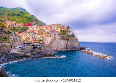 picturesque view of the sea coast with colorful houses in Italy