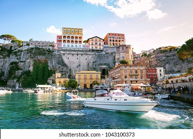 Picturesque view of Sorrento harbor, Italy